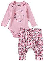 Jessica Simpson Baby Girls Newborn-9 Months Long-Sleeve Bodysuit & Printed Pant Set