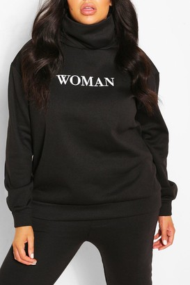 boohoo Plus Slogan Hoodie With Snood