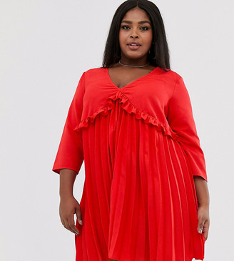 ASOS DESIGN Curve pleated smock mini dress