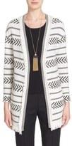 St. John 'Darya' Fringe Trim Stripe Knit Cardigan