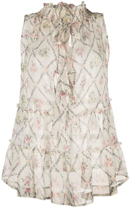Semi-Couture Floral-Print Ruffled Vest