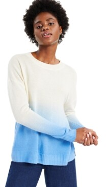 Charter Club Cashmere Dip Dye Long-Sleeve Crewneck Sweater, Created for Macy's