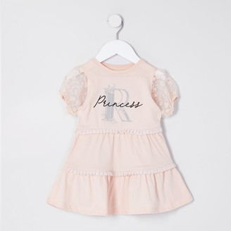 River Island Mini girls Pink organza sleeve T-shirt dress
