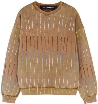 Filles a papa Camel Embellished Cotton-jersey Sweatshirt