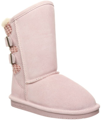 BearPaw Boshie Suede & Knit Genuine Shearling Lined Boot