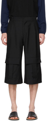 Loewe Navy Wool Cargo Short Trousers