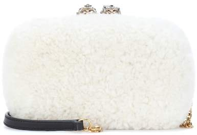 Alexander McQueen Queen and King Skull fur box clutch