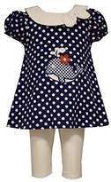 Bonnie Jean Little Girls Polka Dot Whale Applique Nautical Dress/Legging Set,