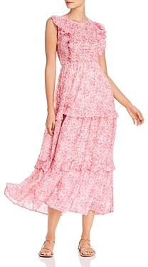 Banjanan Iris Smocked Floral Print Maxi Dress