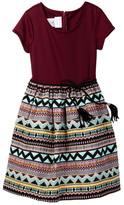 Iris & Ivy Ponte Knit Aztec Brocade Dress (Big Girls)