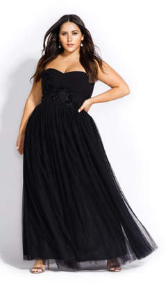 City Chic Reign Tulle Maxi Dress - black