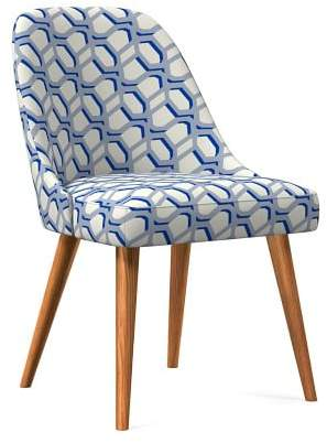 west elm Mid-Century Upholstered Dining Chair - Modern Caning Print
