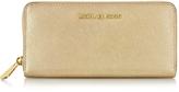 Michael Kors Jet Set Travel Pale Gold Saffiano Leather Continental Wallet