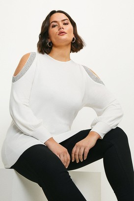 Karen Millen Curve Hot Fix Stud Cold Shoulder Jumper