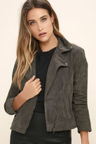 Lush Catch You on the Flip Side Charcoal Grey Suede Moto Jacket