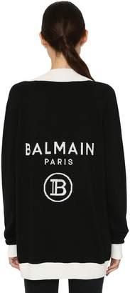 Balmain Logo Intarsia Knit Wool Blend Cardigan