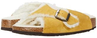 Birkenstock Arosa Shearling (Ochre/Natural Leather/Shearling) Women's Sandals