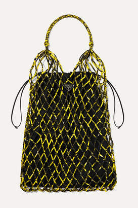 Prada String Large Leather-trimmed Printed Nylon Macramé Tote - Yellow