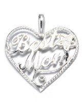 Charm & Chain Sterling Silver Best Mom Heart Filigree Charm , (Chain Not Included) Comes in a Free Gift Pouch
