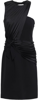Victoria Victoria Beckham Layered Bow-detailed Pleated Twill And Crepe Dress