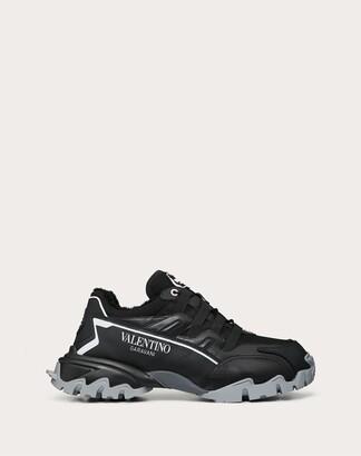 Valentino Garavani Uomo Leather Climbers Sneaker With Shearling Lining. Man Black 100% Pelle Di Vitello - Bos Taurus 43.5