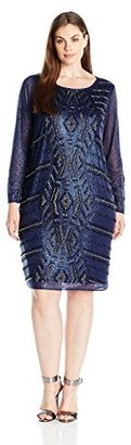 Marina Women's Plus-Size Short Glitter Knit Cocktail with Beaded Front