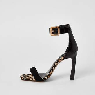 River Island Black barely there wide fit heeled sandals