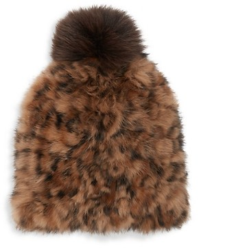 MARCUS ADLER Leopard-Print Rabbit Fur Pom-Pom Hat