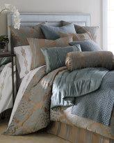 "Horchow Fino Lino Linen & Lace Tiara Neckroll Pillow, 9"" x 20"""