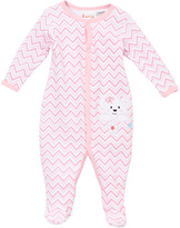 Sweet & Soft Pink Chevron Bear Appliqué Sleep N' Play Footie - Infant