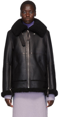 Acne Studios Black Shearling Long Jacket