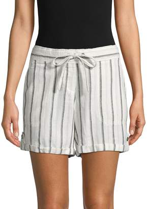 Alexander Jordan Linen Blend Striped Drawstring Shorts