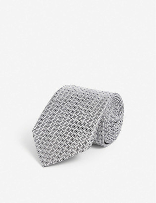 Canali Circle-pattern silk tie