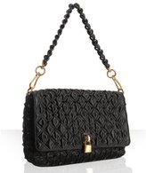 black quilted sateen beaded 'Beat' shoulder bag