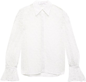 Carolina Herrera Silk Organza-trimmed Cotton-blend Guipure Lace Shirt