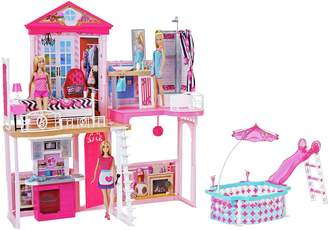Barbie Complete Home Set with 3 Dolls and Pool