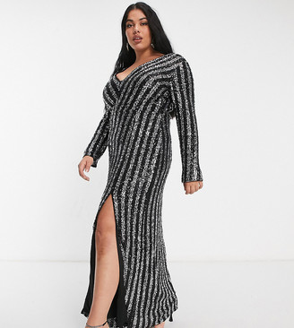 Jaded Rose Plus exclusive sequin stripe maxi dress with thigh split in black and silver