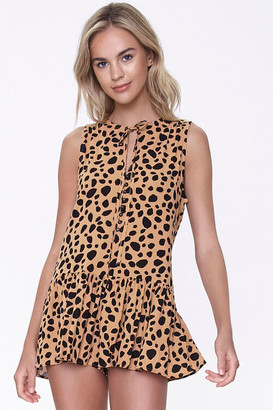 Forever 21 Cheetah Print Flounce-Hem Top