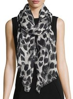 Burberry Giant Check Animal-Print Gauze Scarf, Natural White