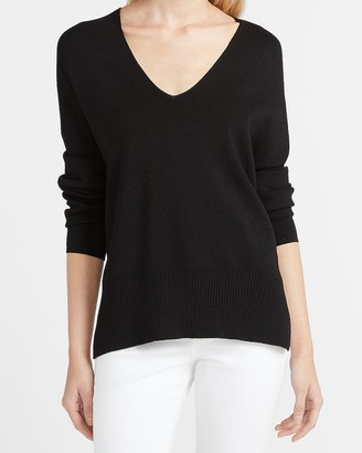 Express Lightweight Tunic V-Neck Sweater