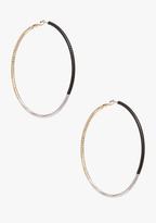 Bebe Glitzy Colorblock Hoop Earrings