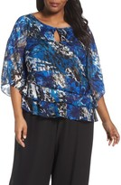 Alex Evenings Plus Size Women's Asymmetrical Tiered Keyhole Blouse