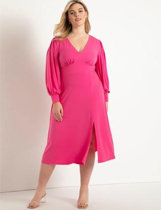 ELOQUII V-Neck Knit Midi Dress