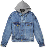 Fear Of God Jersey-lined Selvedge Denim Hooded Jacket - Blue
