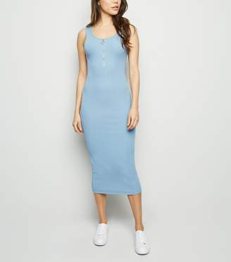 New Look Ribbed Zip Front Midi Bodycon Dress