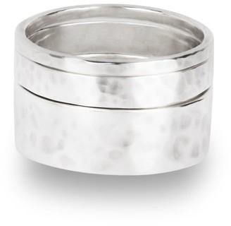 Aquila Jewellery Set Of 3 Hammered Silver Rings - Agonda
