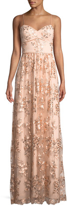Aidan Mattox Floral Embroidered Sweetheart Gown