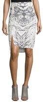 Haute Hippie Front-Slit Pencil Skirt, Swan/Black