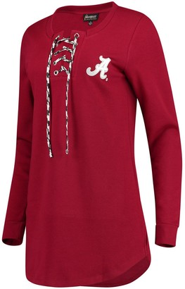 Women's Crimson Alabama Crimson Tide Houndstooth Lace-Up Long Sleeve T-Shirt