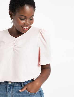 ELOQUII Ruched Neck Cutout Back Tee